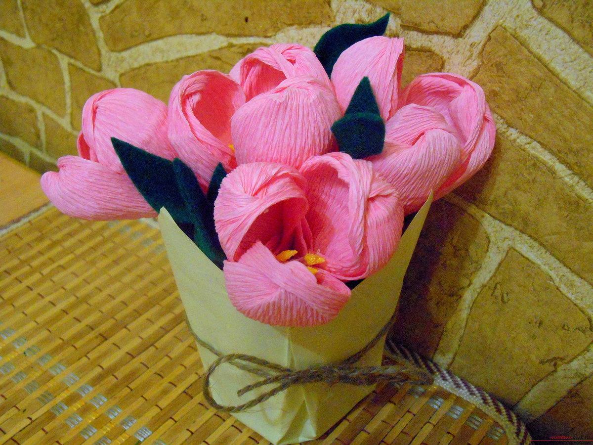 Цветы из гофрированной бумаги мастер класс на открытку