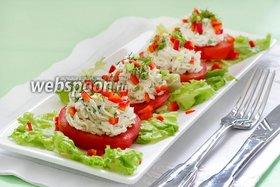 Закуска из помидор с творожным сыром и зеленью