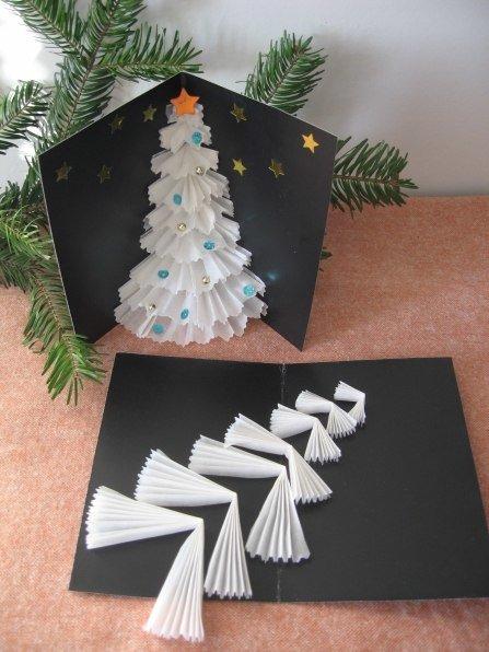 Открытка, открытка с елкой объемной из бумаги