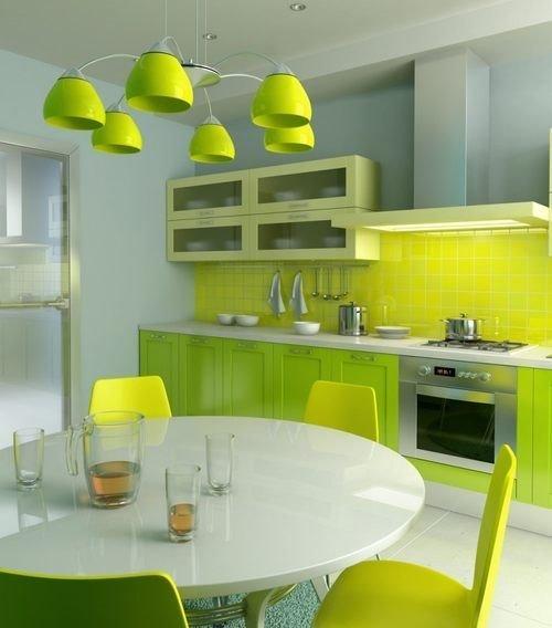 Желто оливковая кухня