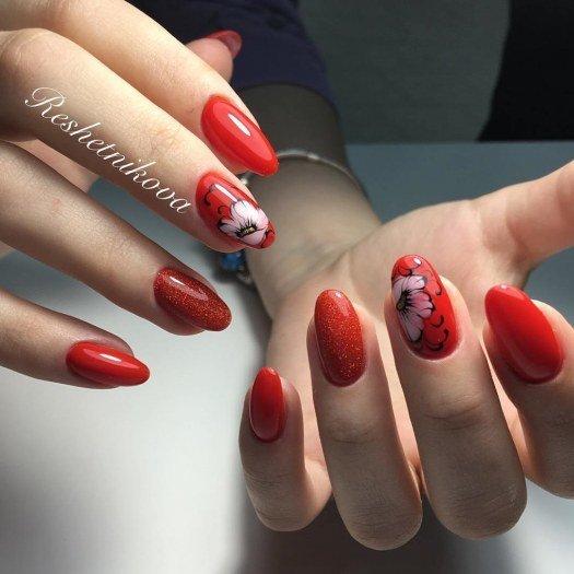 Фото дизайн ногтей гель лак красный с 29