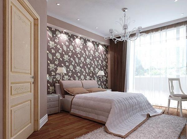 дизайн обоев для спальни комбинированные фото