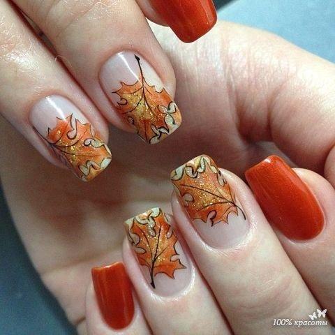 фото ногти гель лак осень