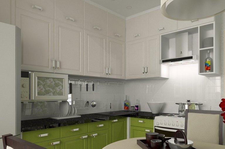 Красивый дизайн в зеленых оттенках для будущей кухни