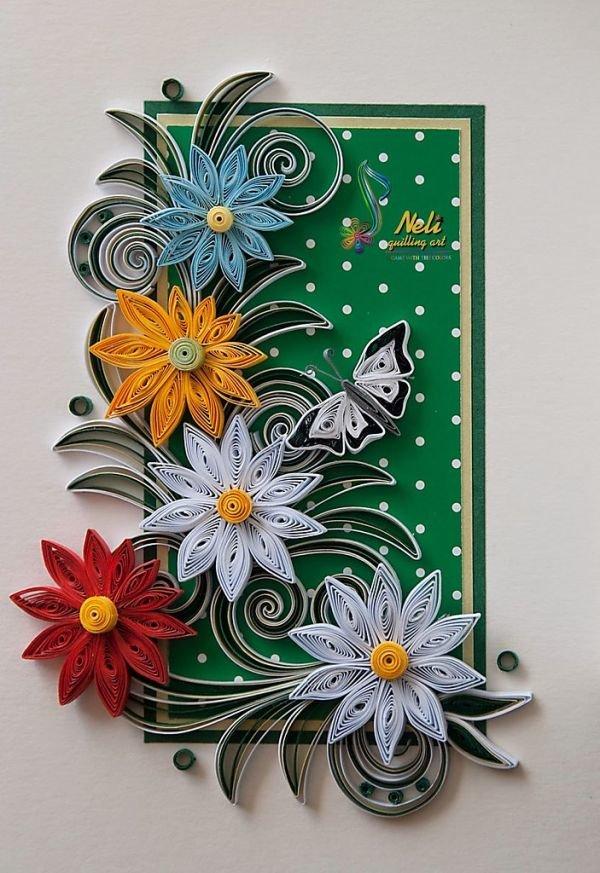 Открытки из квиллинга с цветами, картинки