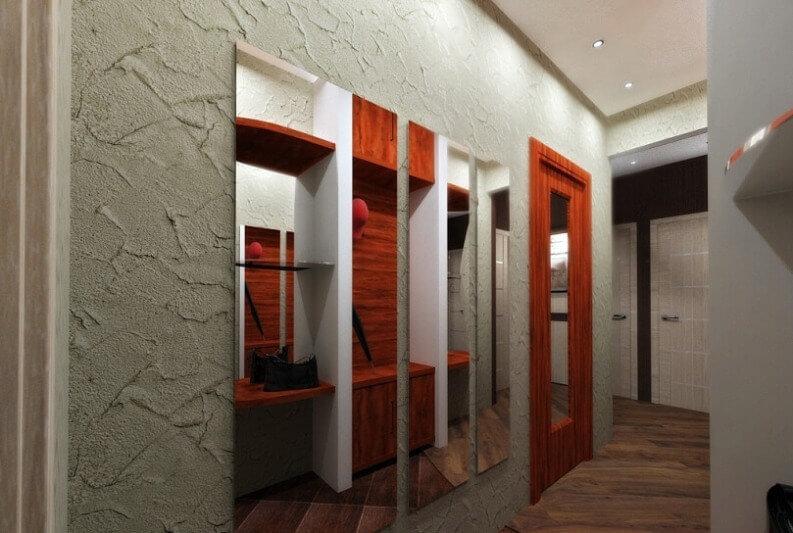 дизайн коридора декоративной штукатуркой