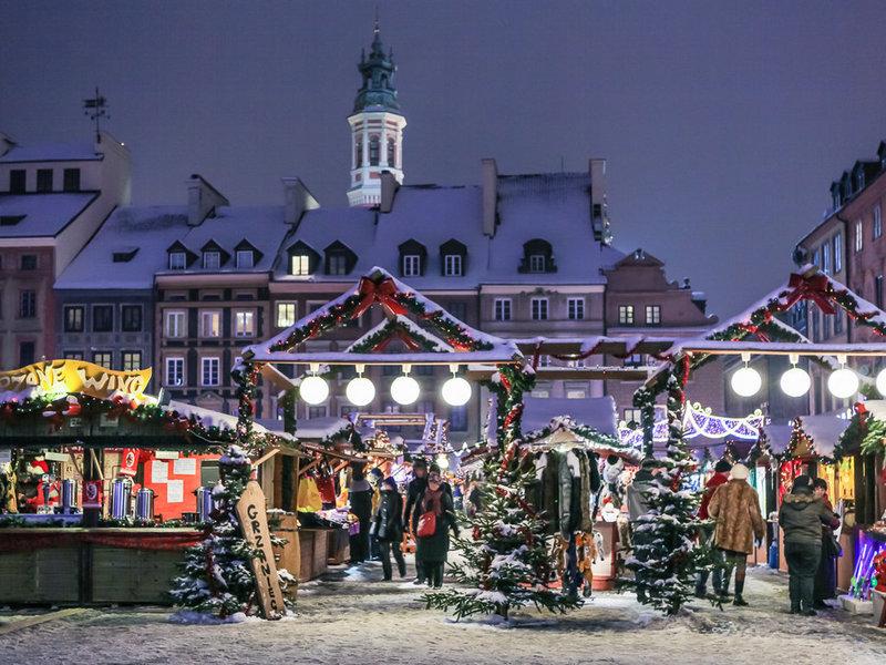Вход на новогоднюю ярмарку в Варшаве.