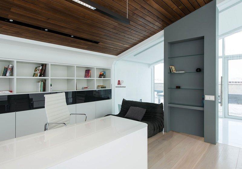 Интерьер домашнего кабинета - В светлых тонах (пентхаус)
