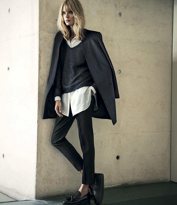 Белая рубашка, чёрные брюки. Многослойный образ