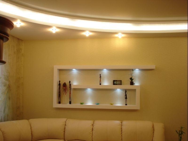 полки на стене из гипсокартона с подсветкой