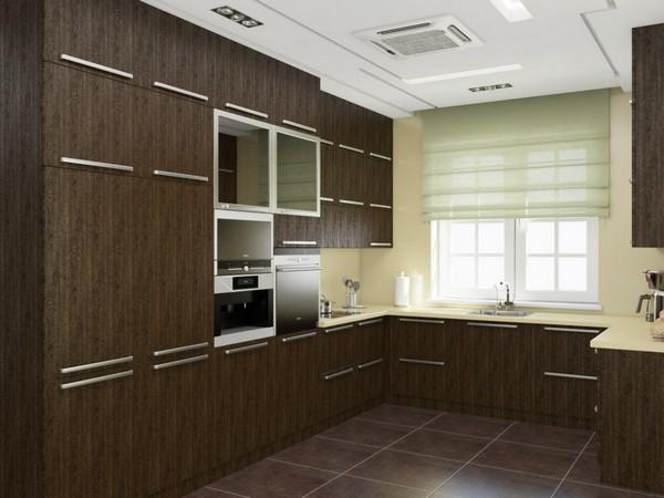 Дизайн кухни угловые с окном 46
