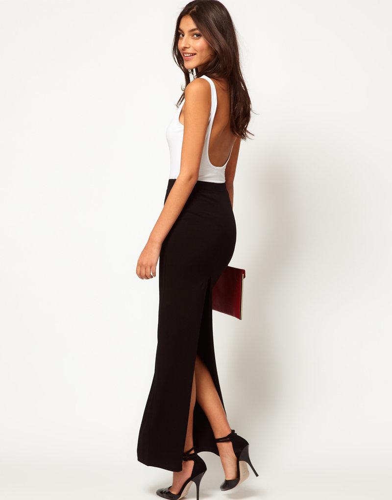 Черная юбка с разрезом сзади