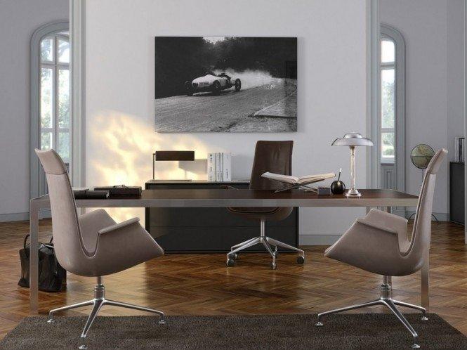 Домашний кабинет в современном стиле - Дизайнерская мебель (картина с гоночной машиной)