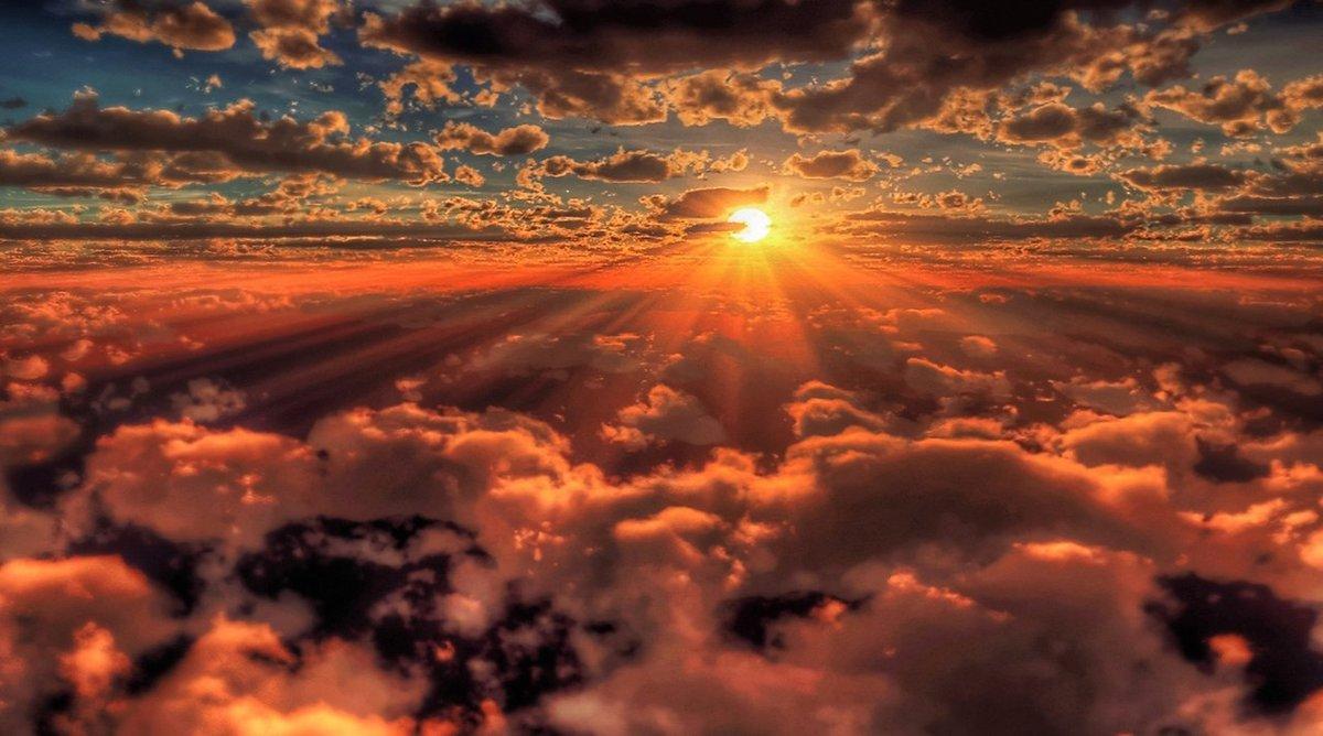 Красивый закат.Фото с борта самолёта