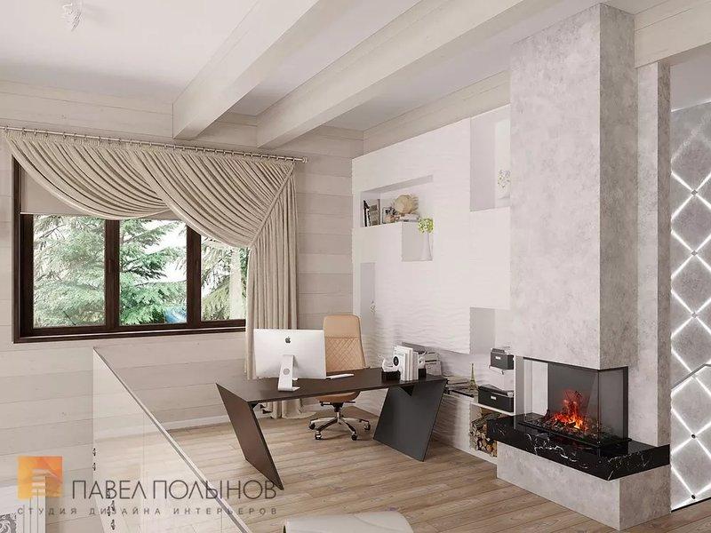 Интерьер домашнего кабинета - В светлых тонах и камином