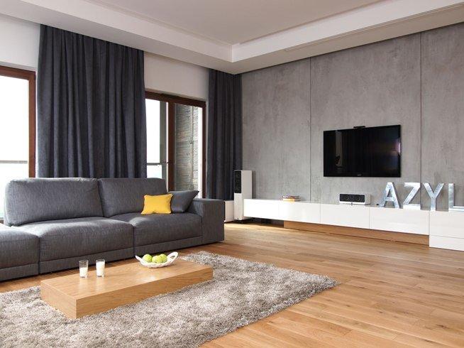 Оформление гостиной в светлых и темных оттенках серого