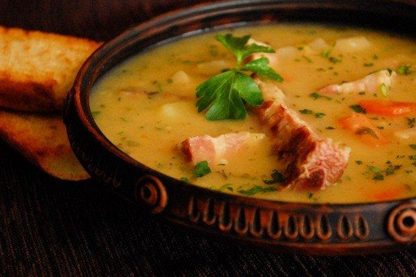 Гороховый суп с копчеными ребрышками фото рецепт