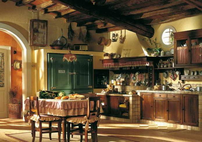 Дизайн кухни и столовой в стиле кантри