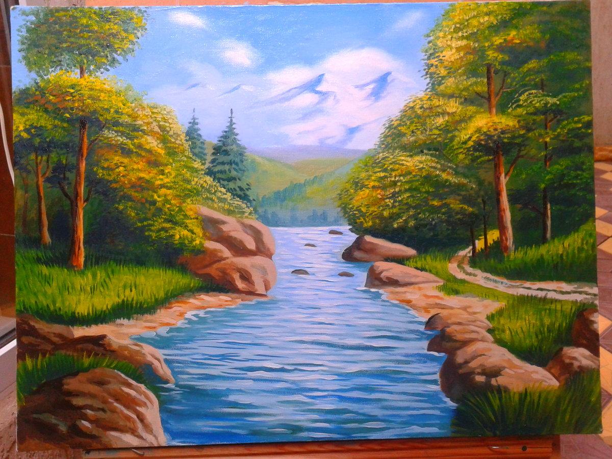 Картинки для срисовки природа гуашью