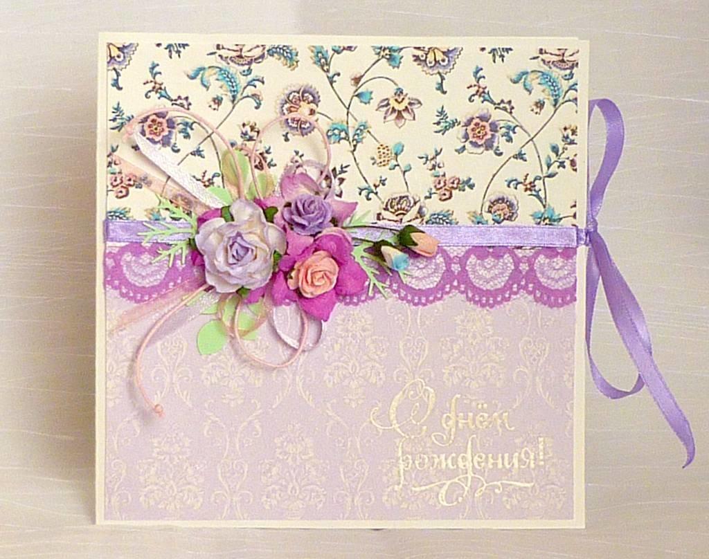 Скрапбукинг открытка для женщины на юбилей