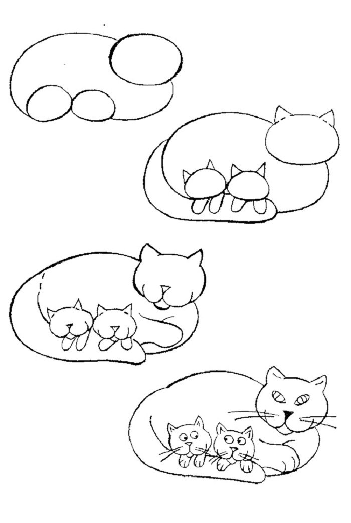 Мужчине летием, картинки кошек карандашом для детей