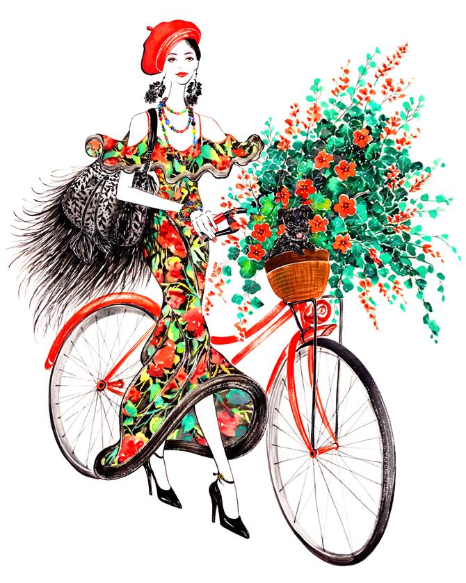 Открытка девушка на велосипеде
