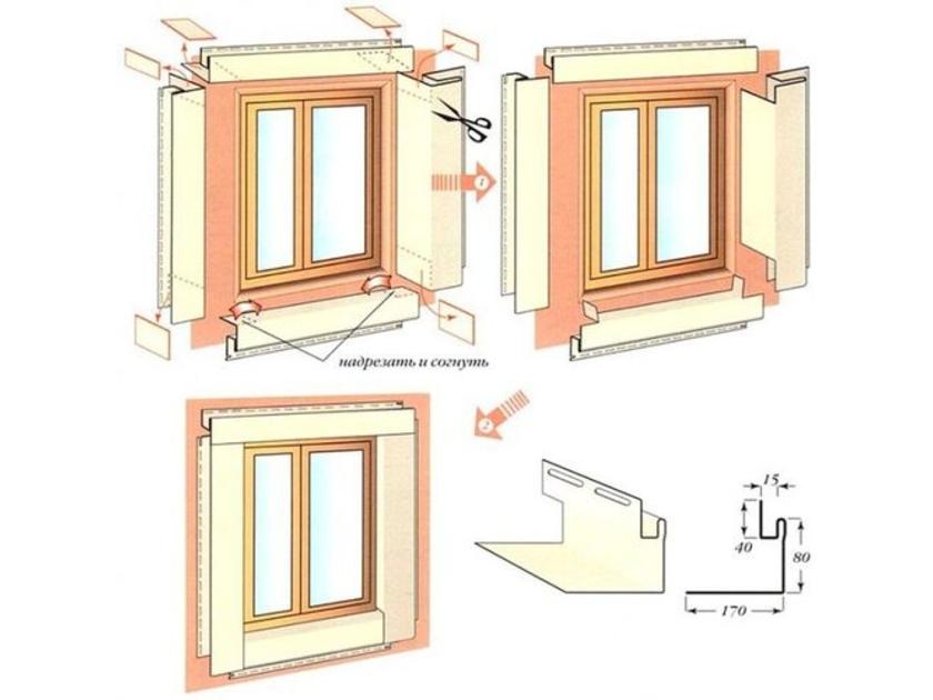 обшивка окна сайдингом