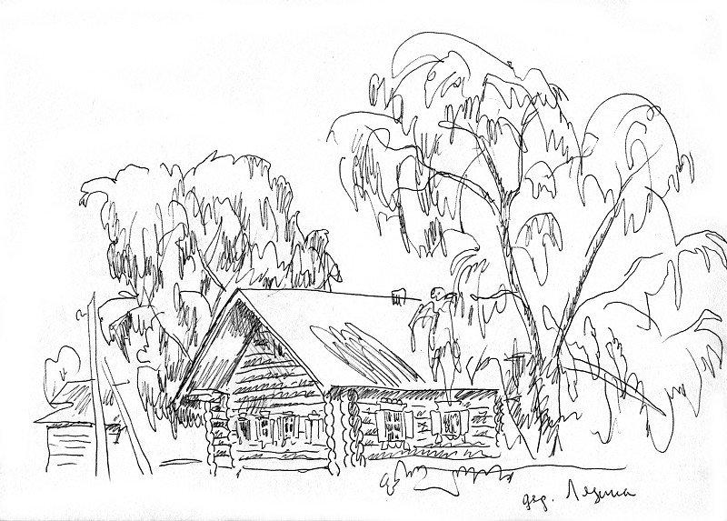 Раскраска моя деревня карандашом