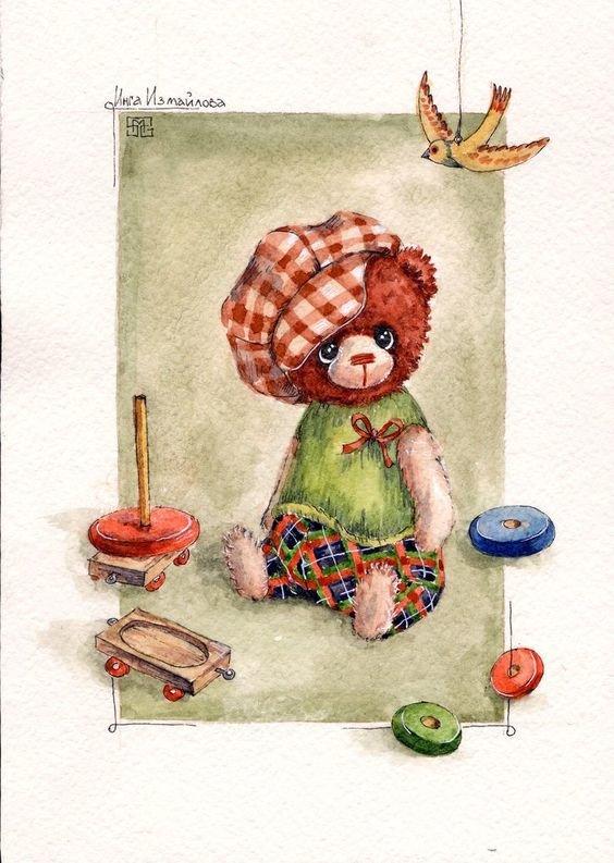 Авторская рисованная открытка