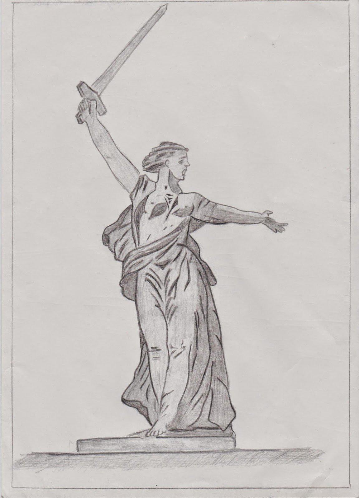 рисунок памятника карандашом плотности