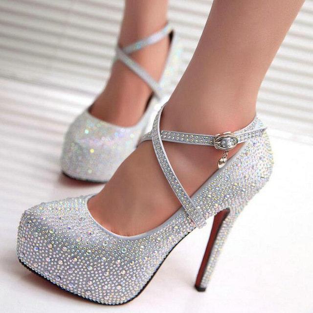 0cfa95b8d ... женские на высоком каблуке для выпускного свадебные туфли леди на  прозрачной платформе Серебристые блестящие свадебные туфли