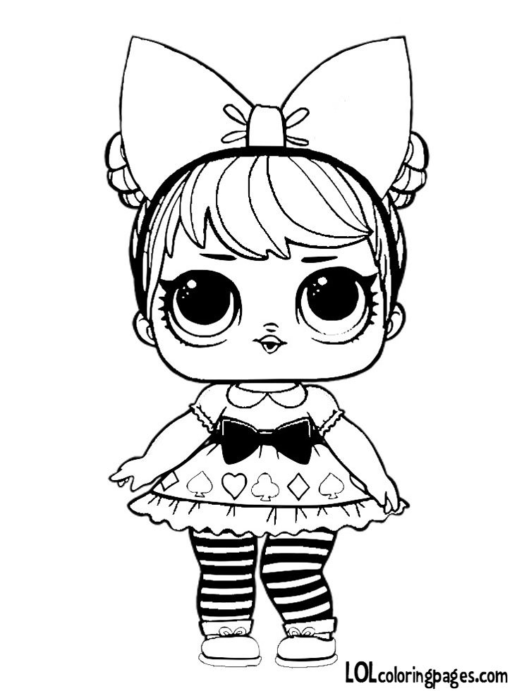 Curious QT LOL Doll Coloring Page