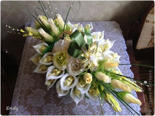 Цветы, букет из конфет каллы мастер класс