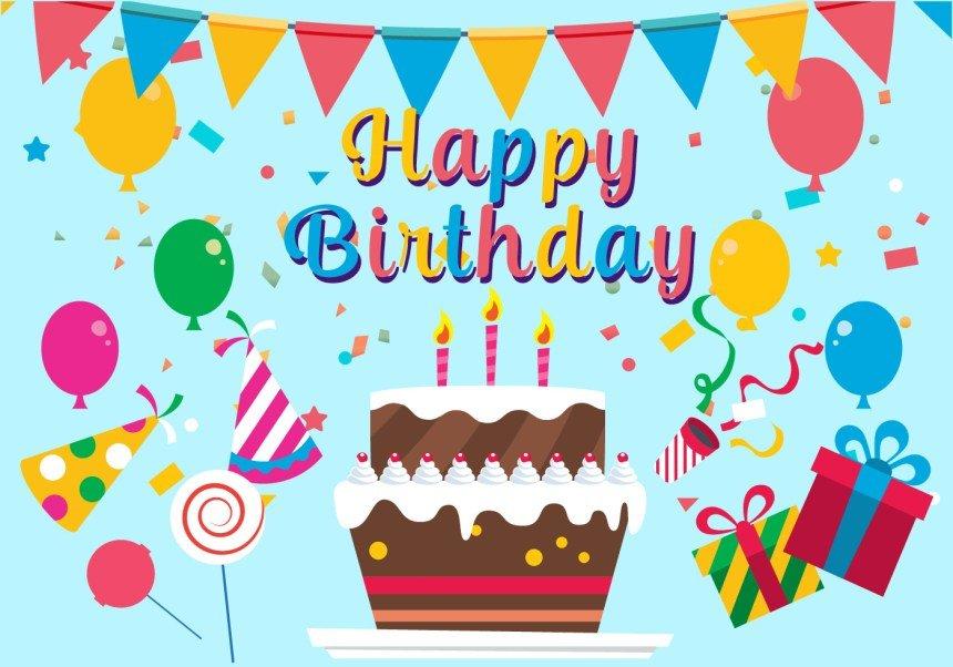 Для, открытки векторные с днем рождения