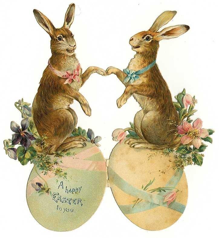 Винтажные открытки кролики, свадьба поздравление днем