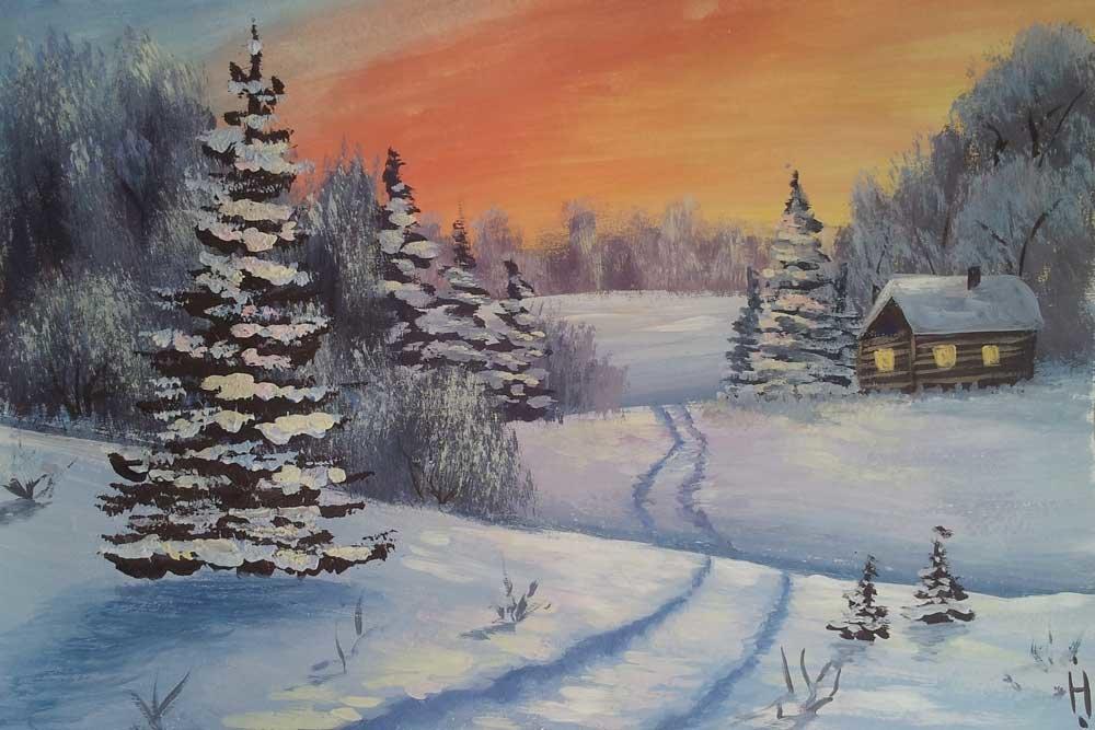нашей рисунок зимнего пейзажа гуашью ряде случаев например
