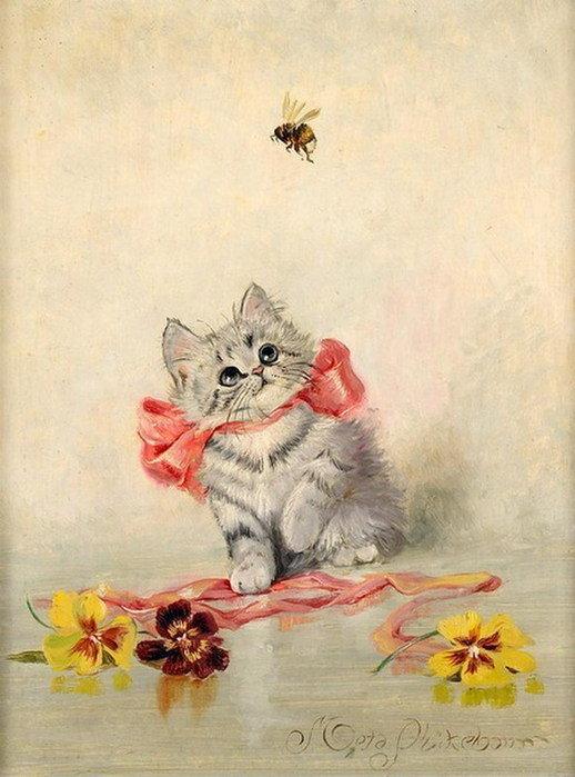 Винтажные открытки с котиками, открытки рамками стихи