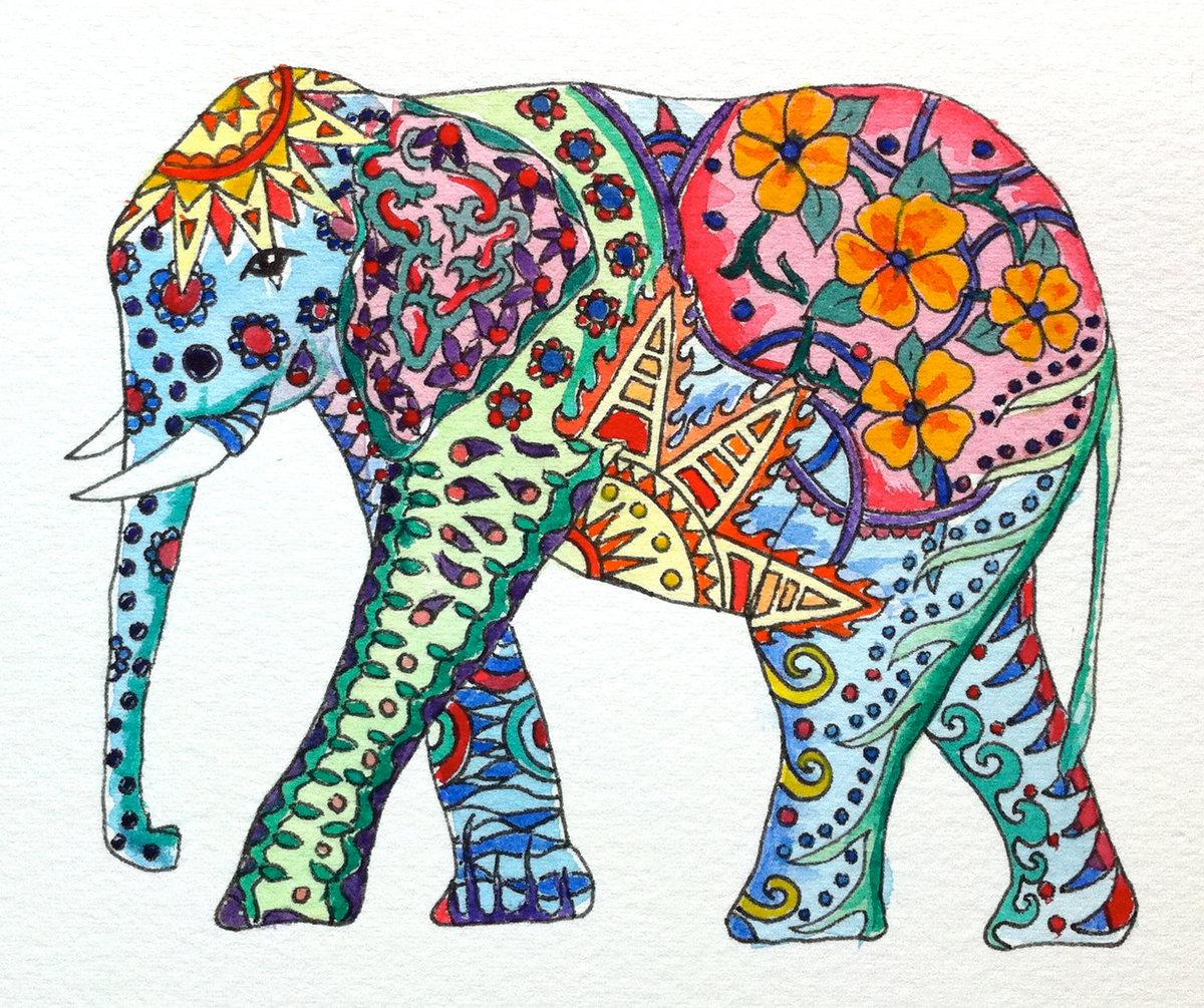Слон картинки узоры