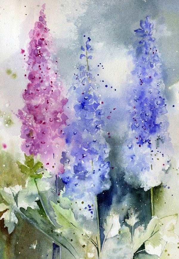 Дню, акварельные картинки цветы