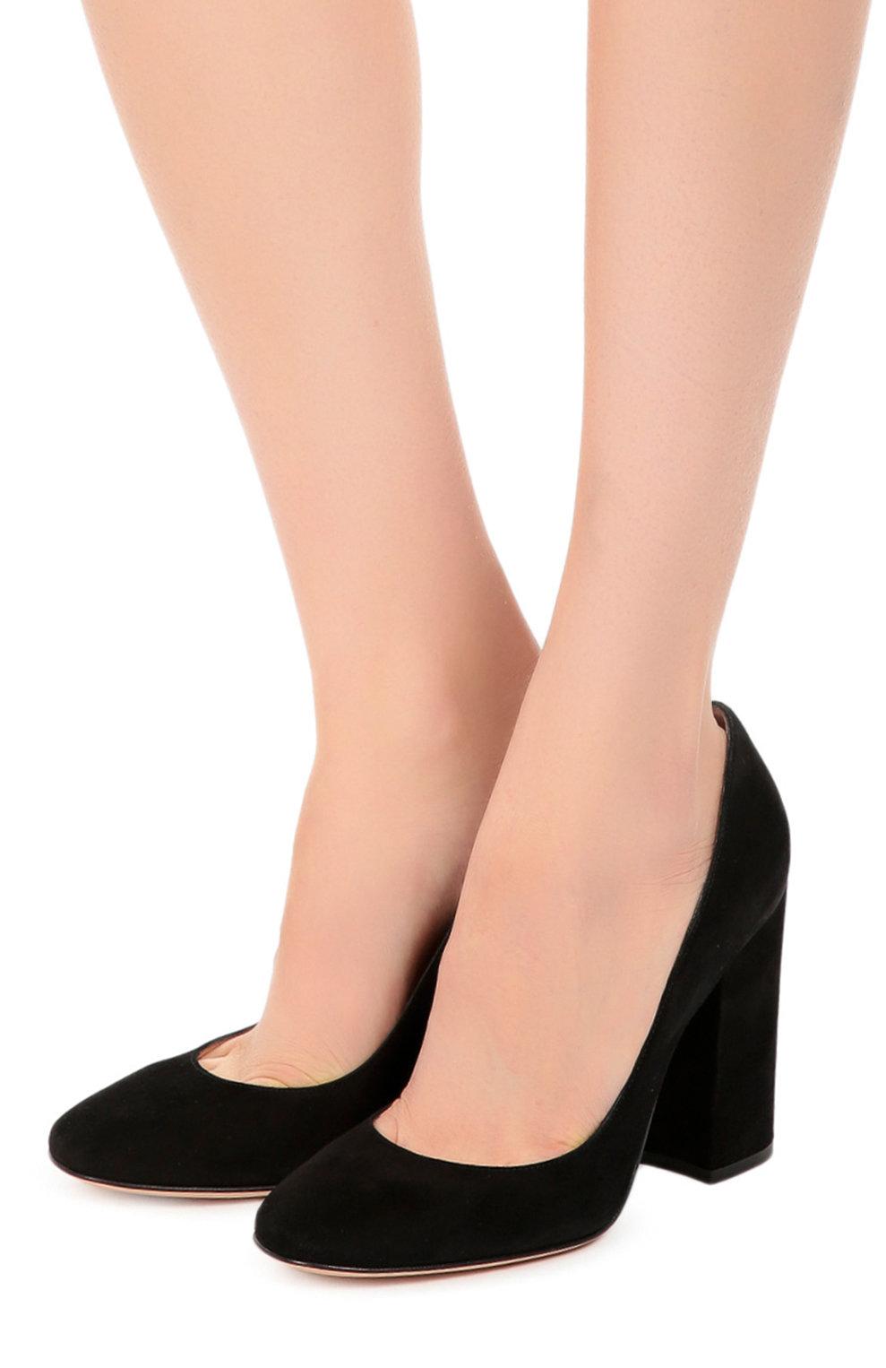 e54f513ee Женские черные замшевые туфли на устойчивом каблуке Женские черные замшевые  туфли на устойчивом каблуке