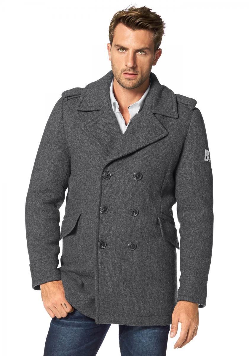 Вязаное пальто с кожаными рукавами фото
