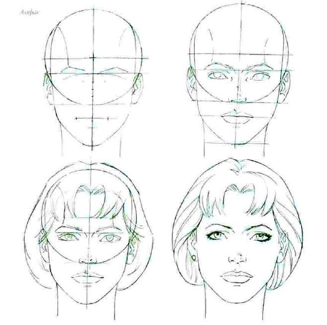 Как нарисовать лицо пошагово фото
