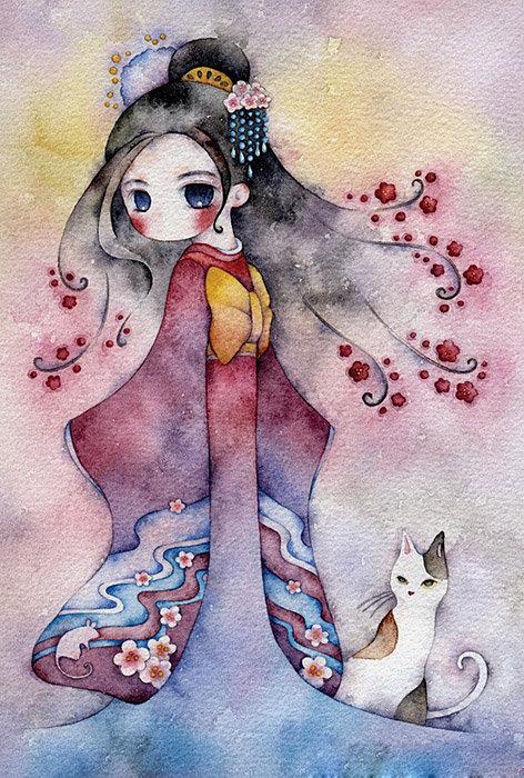 Прикольные японские картинки для срисовки, днем рождения