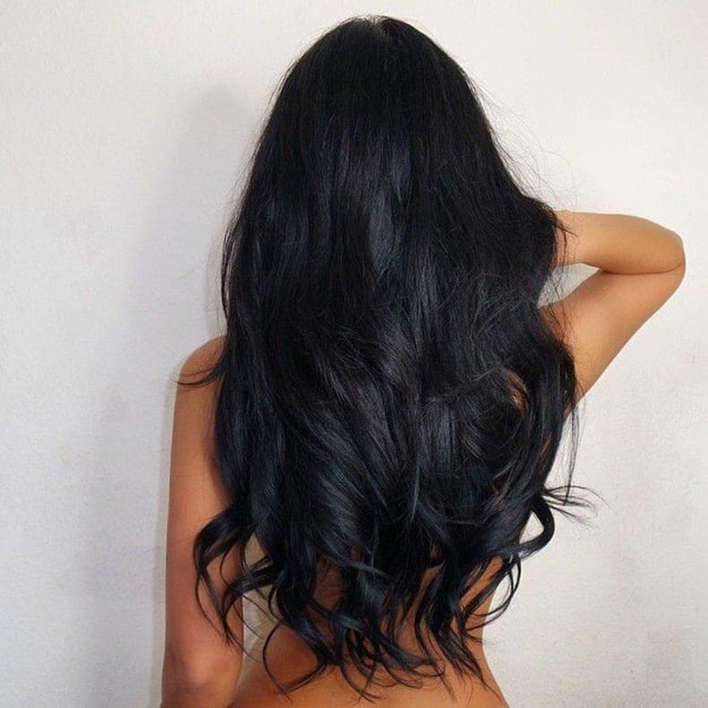 фото девушки с черными вид волосами сзади что такая