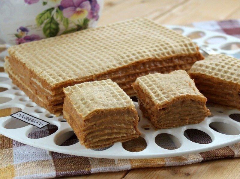 Вафельный торт со сгущенкой рецепт с фото