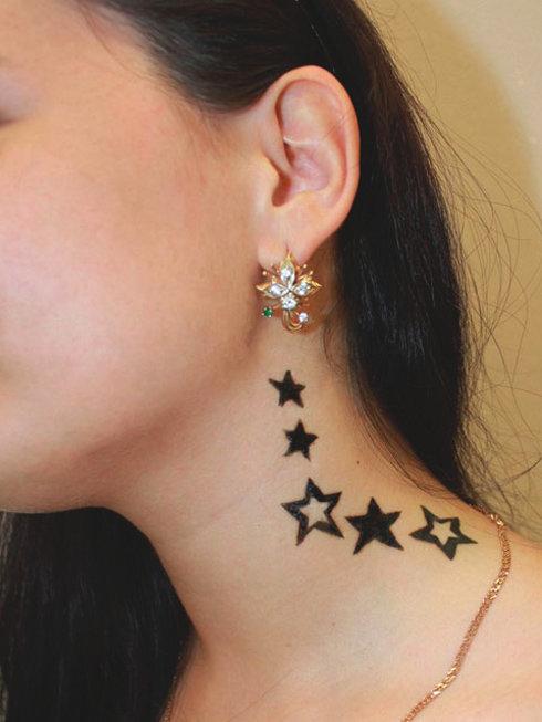 Татуировка звезды на шее фото