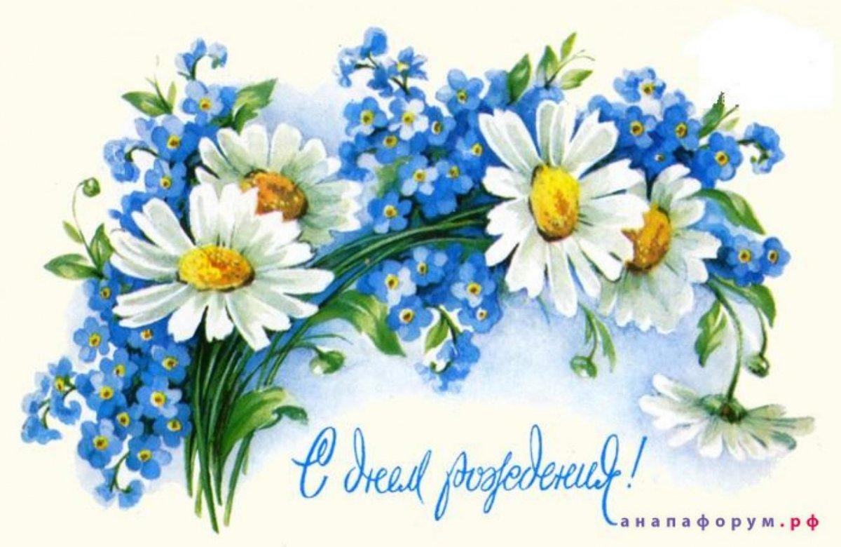 Поздравления с днем рождения картинки цветы ромашки, открытка