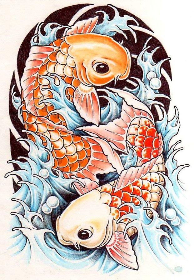 Открытки, японские рыбы рисунок