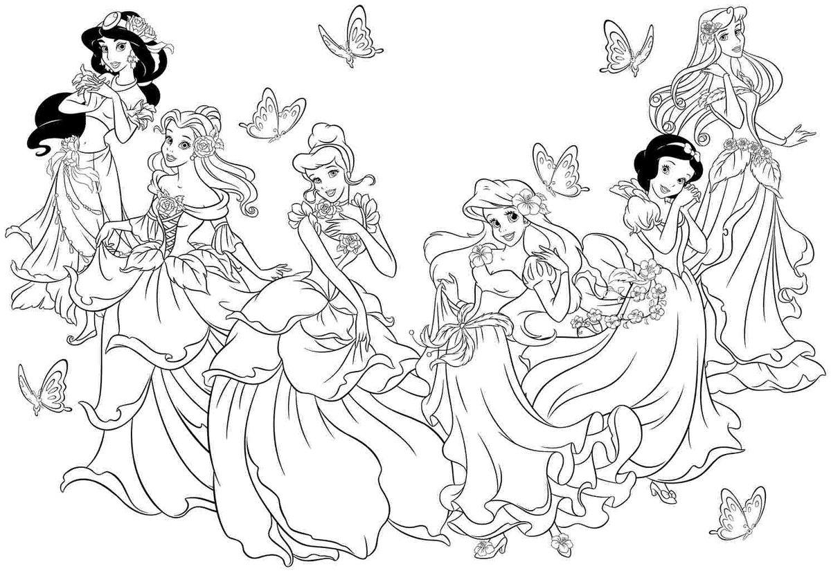 Раскраска принцессы все вместе