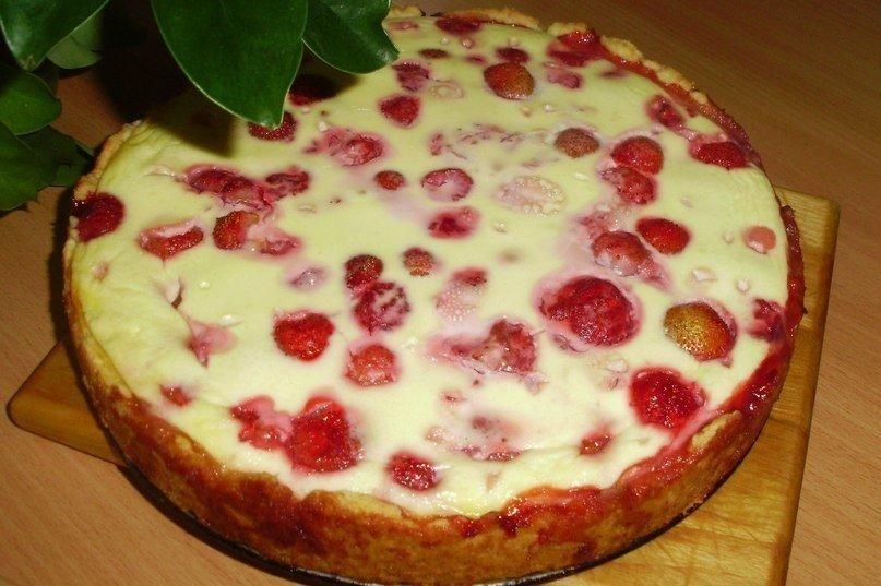 Заливной пирог с клубникой рецепт